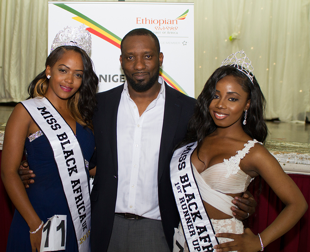 Susana Owono(Winner), Dele Onabowu(Miss Black Africa Director), Cheryl Hammond (1st Runner Up)