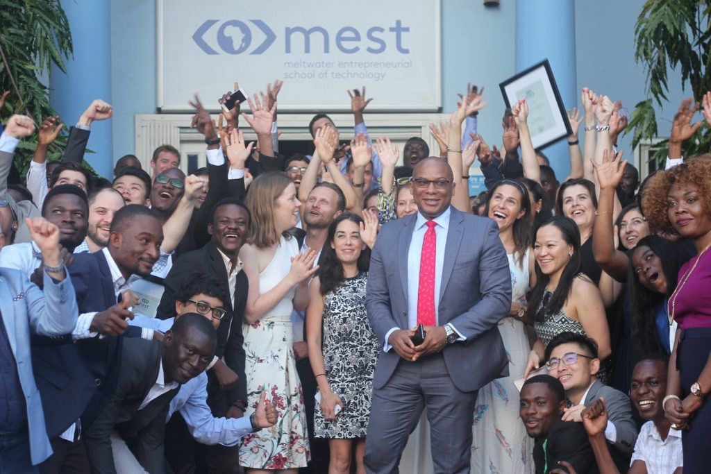 GMD Interswitch, Mitchell ELegbe and CMO Interswitch (extreem right), CHerry Eromosele with the MEST Graduates