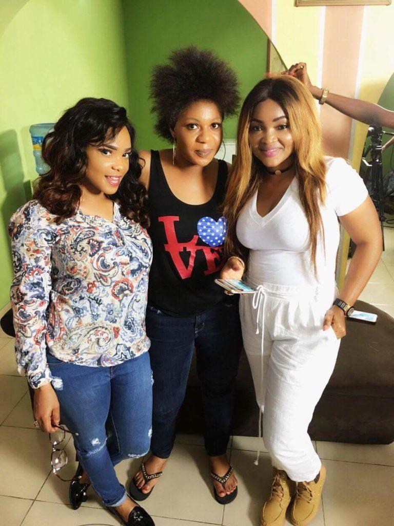 Nollywood Actress Lola Faduri on set of IfeOdale with  Iyabo Ojo and Mercy Aigbe (4)