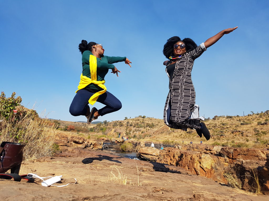 TOSIN AJIBAD AND SISI YEMMIE AT BOURKE LUCK POTHOLE IN MPUMULANGA