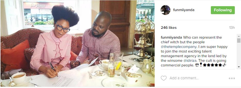 Funmi Iyanda signing management deal