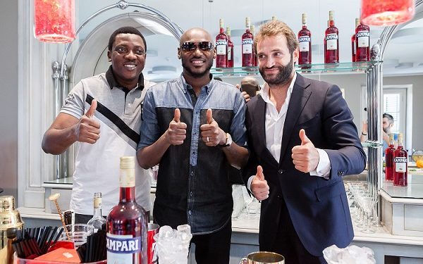 Head of Marketing, Brian Munro, Abayomi Ajao, Campari ambassador, 2Baba and Campari academy trainer, at the home of Campari in Milan, Italy