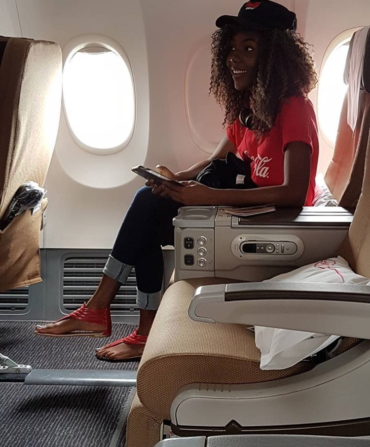 ''My first time ever on a plane. Coca-Cola really knows how to pamper a girl ?. Kenya, here I come'' - Anna