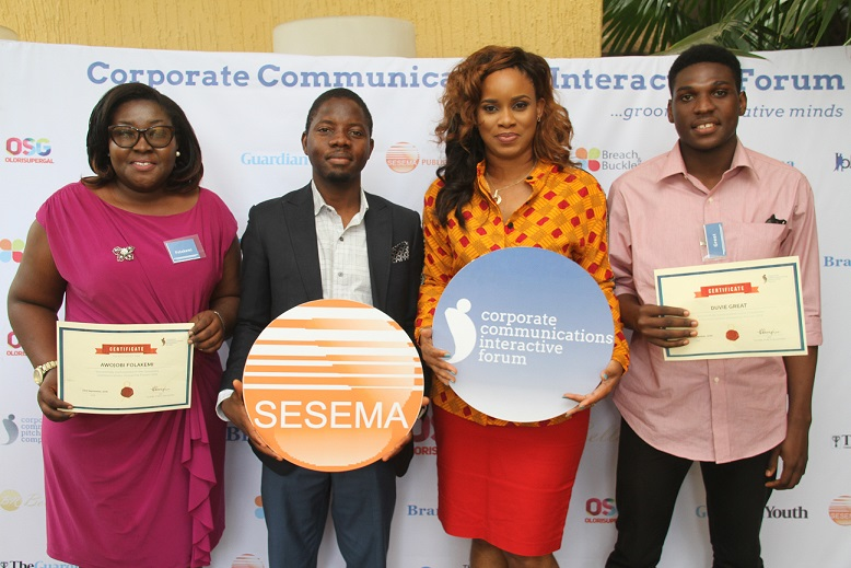 L-R: Folakemi Awojobi, Participant of the Corporate Communications Interactive Forum (CCIF), Olutayo Irantiola, Senior PR executive, Sesema PR, Tampiri Irimagha-Akemu, MD Sesema PR and Great Duvie  CCIF participant at the Corporate Communications Interactive Forum organized by Sesema PR in Lagos
