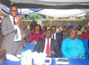Head Enterprise Business Team /IT Business, Samsung Electronics West Africa, Mr .Anu Rotimi Agboola, discussing technology with the Commissioner for Education, Akwa Ibom State, Mr Aniekan Akpan, and  Deputy Governor, Akwa Ibom State, Mr. Moses Ekpo, at the recently launched Samsung SMART School Project, in UYO.
