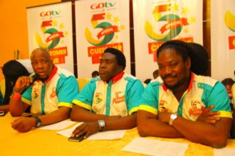 Martin Mabutho, GM Marketing & Sales,MultiChoice; Akin Salu, GM GOtv and Daddy Showkey, GOtv Brand Ambassador at GOtv @5 Press Conference in Lagos, Wednesday