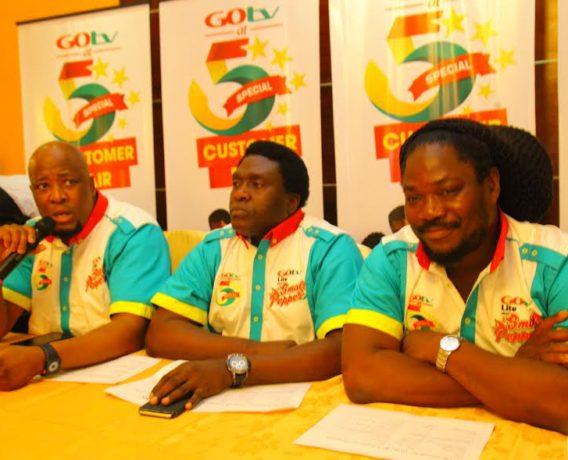 Martin Mabutho, GM Marketing & Sales,MultiChoice; Akin Salu, GM GOtv and Daddy Showkey, GOtv Brand Ambassador at GOtv @5 Press Conference in Lagos, Wednesday