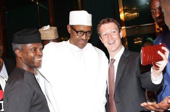 L-R Vice President Yemi Osinbajo, President Muhammadu Buhari and Mark Zuckerberg