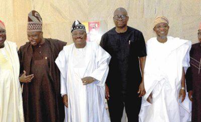 Governors Akinwunmi Ambode of Lagos State; Ibikunle Amosun of Ogun; Abiola Ajimobi of Oyo; Ayodele Fayose of Ekiti; Rauf Aregbesola of Osun; and Secretary to the Ondo State Government, Rotimi Adeola, at the South West Governors' Economic Summit in Ibadan…yesterday