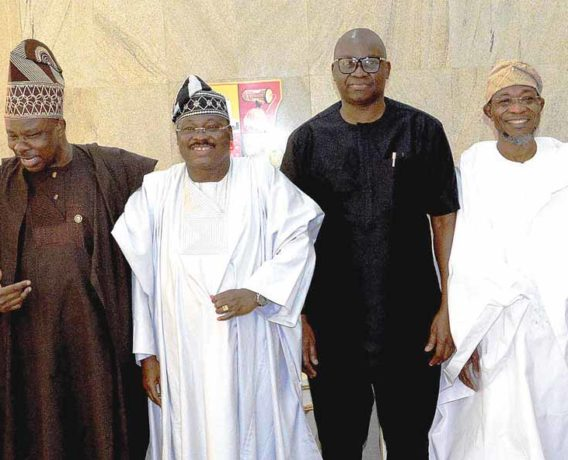 Governors Akinwunmi Ambode of Lagos State; Ibikunle Amosun of Ogun; Abiola Ajimobi of Oyo; Ayodele Fayose of Ekiti; Rauf Aregbesola of Osun; and Secretary to the Ondo State Government, Rotimi Adeola, at the South West Governors' Economic Summit in Ibadan…yesterday