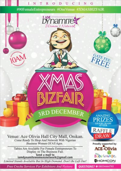 IAmDynamite Women's Network is Set to Hold Its Second Networking Event and business Fair. Themed #XMASBizFair2016