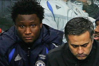 John Obi Mikel and Mourihno in a photo