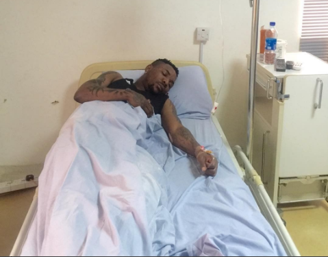 Oritse Femi on Hospital bed