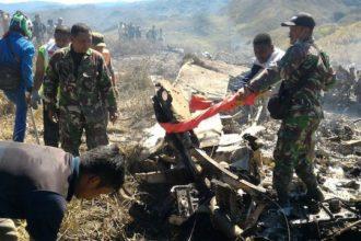 Scene of the Indonesian Hercules plane crash on Saturday