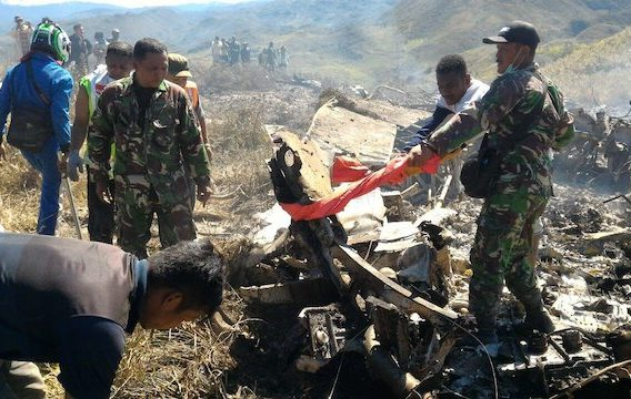 Scene of the Indonesian Hercules plane crash on Saturday