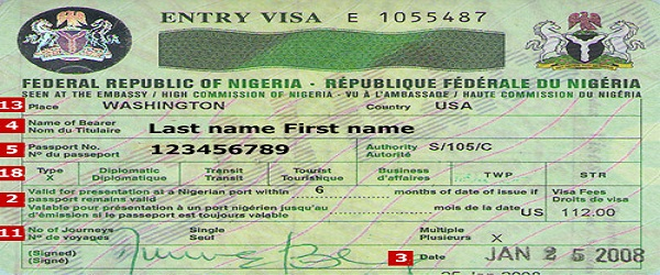 Nigeria visa sample