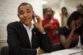 US President Barack Obama on phone call