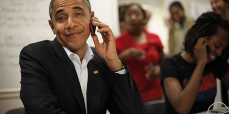 US President Barack Obama on phone call