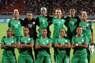 The triumphant Super Falcons who just won the 2016 Women's Africa Cup Of Nations for the eight time