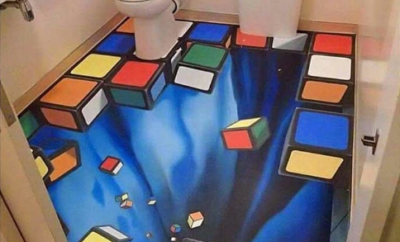 3D tiled bathroom floor