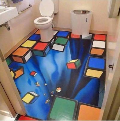 3D tiled bathroom floor