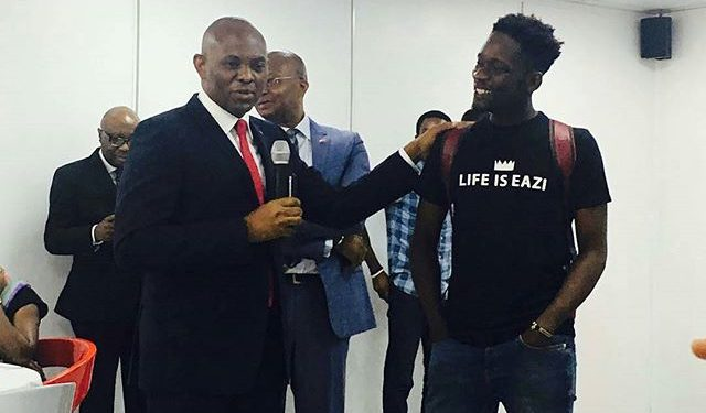 mr eazi and tony elemelu at uba house in lagos
