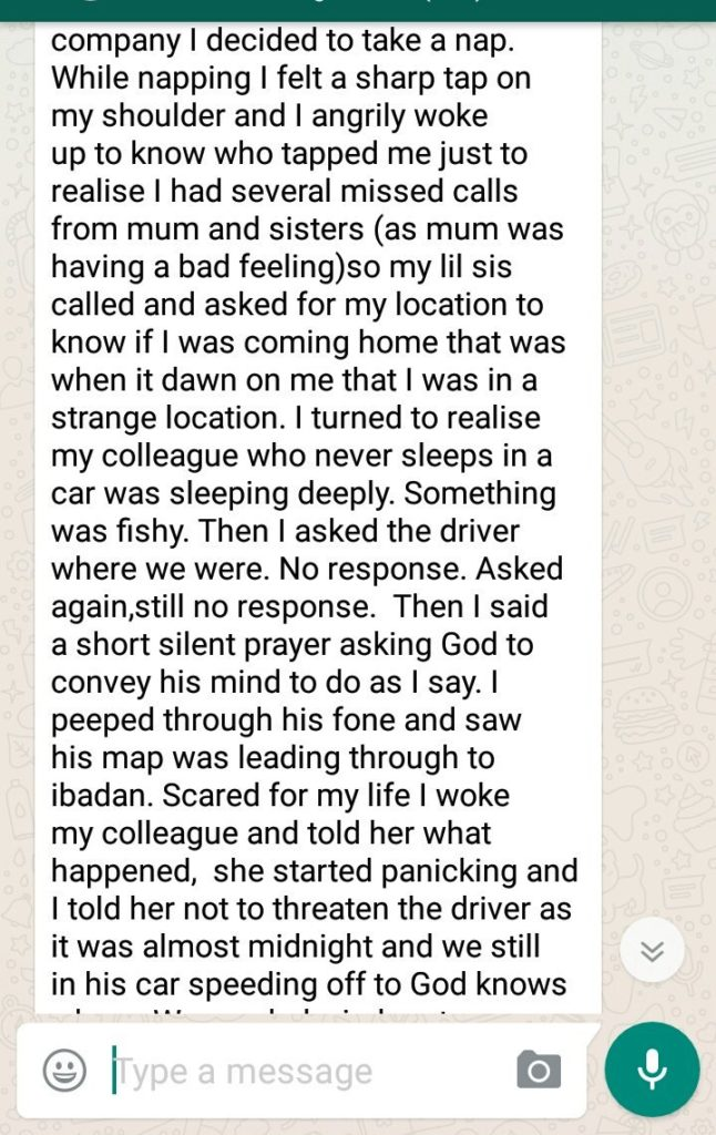 uber driver diverted in lagos