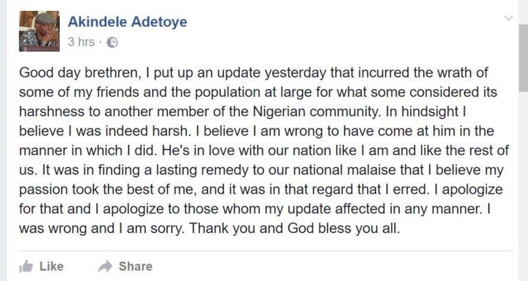 Prof Akindele Adetoye apologized to 2 face