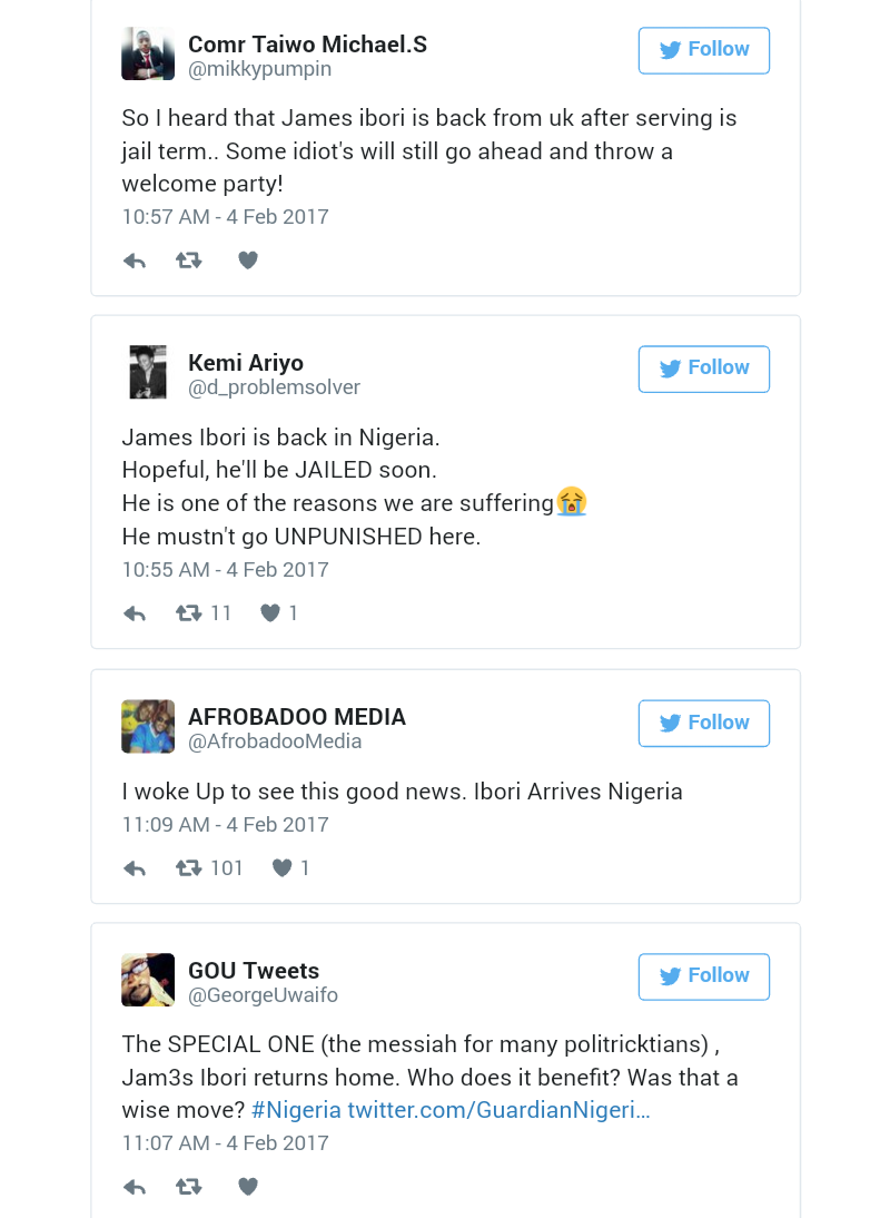 Twitter Reactions as Ibori Arrives Nigeria
