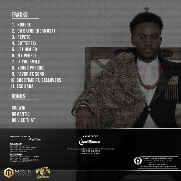"Korede Bello Releases Track-List For His Debut Album ""Beloved"""