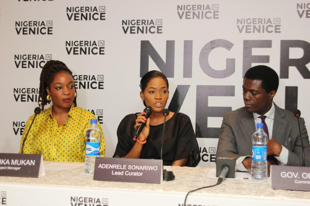 Wunika Mukan (Project Manager), Adenrele Sonariwo (Lead Curator, Nigeria In Venice), Femi Lijadu (Representative of Governor Godwin Obaseki, Commissioner, Nigeria In Venice)