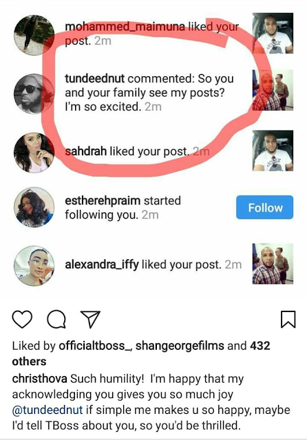 Between T-Boss' Brother And Tunde Ednut On Instagram