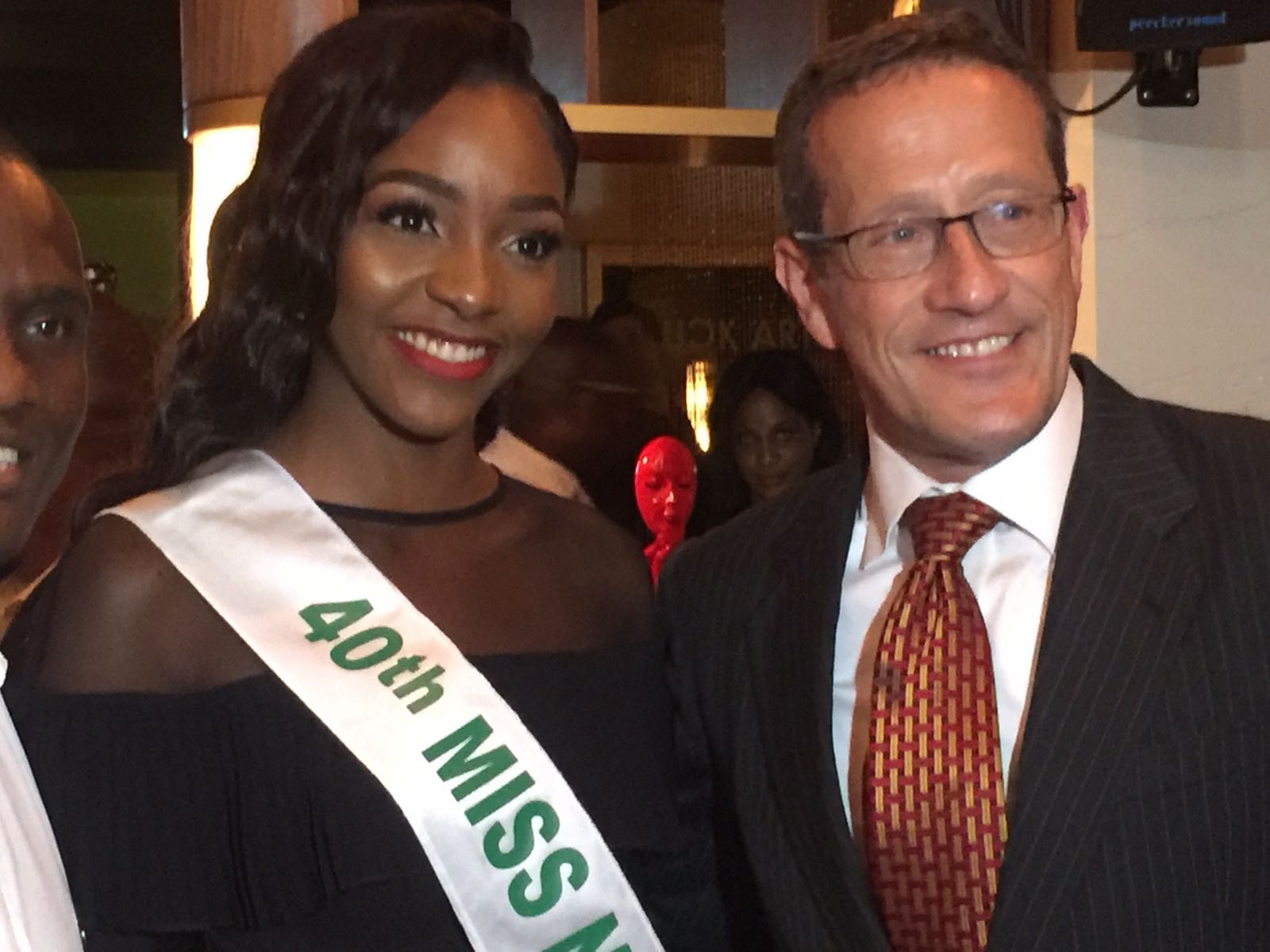 RICHARD met Miss Nigeria, Chioma Obiadi Stephanie yesterday at the launch of DT Now from Daily Times publisher Fidelis Anosike