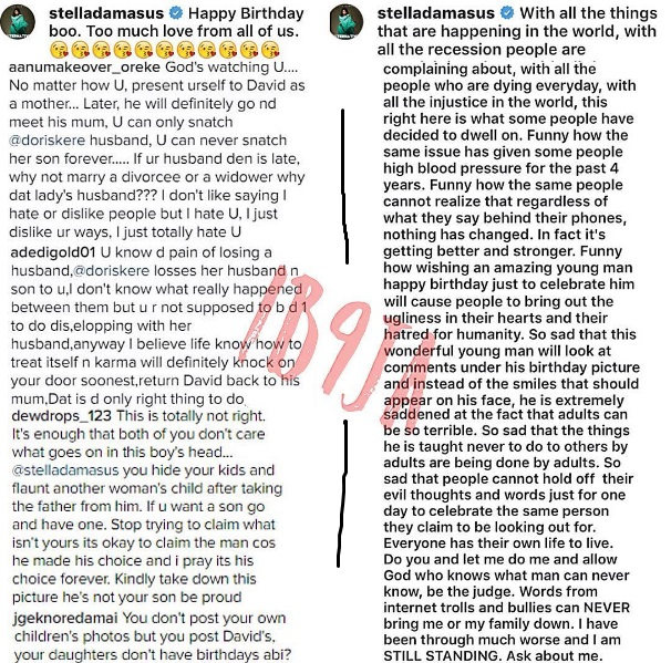 Stella Damascus Replies Hate Comments On Step Son's Photo