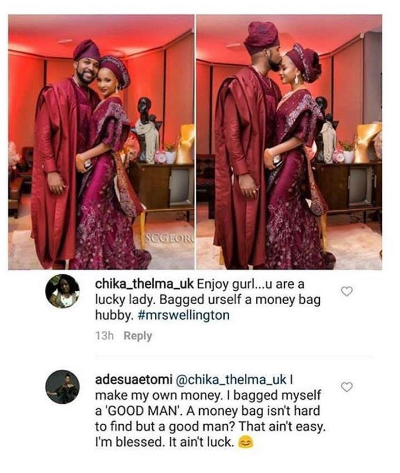 Adesua Etomi reply to a follower on money bad husband comment