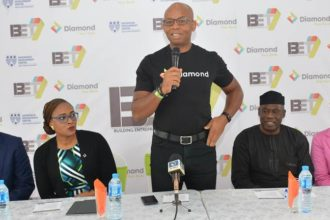 L – R : Mark Ifashe, Head Emerging Businesses; Chioma Afe, Head, Corporate Communications; Uzoma Dozie, CEO, all of Diamond Bank Plc; Peter Bamkole, Director; Nneka Okekearu, Deputy Director all Enterprise Development Centre (EDC) at the Building Entreprenuers Today (BET 7) Press Conference held in Lagos recently.