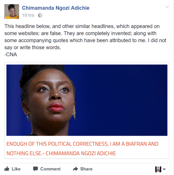 Chimamanda Adichie dissociate self from pro- biafra comments - OLORISUPERGAL