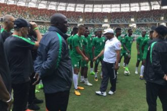 Gov Udom visit the super eagle - OLORISUPERGAL