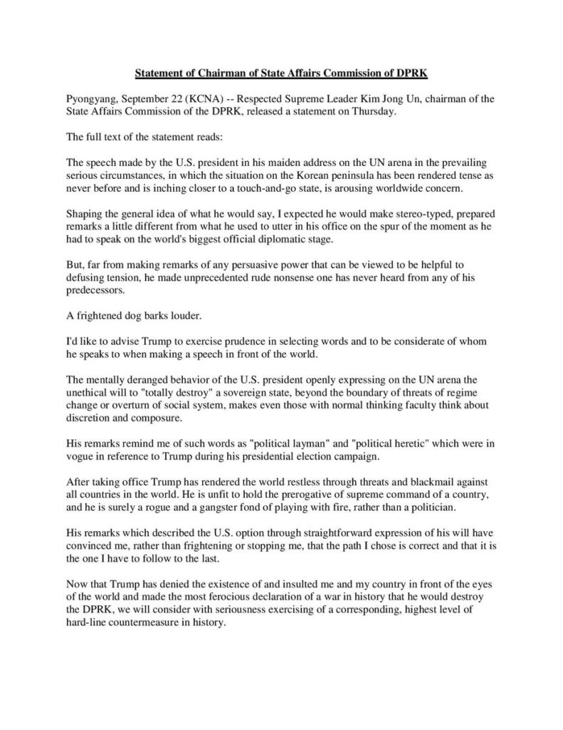 Kim Jong Un statement to Donald Trump - OLORISUPERGAL