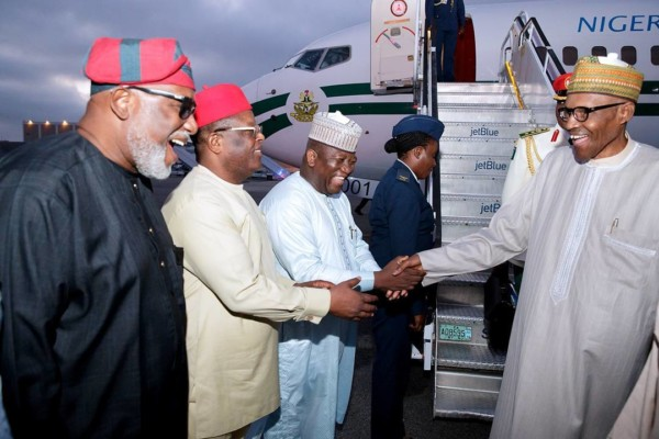 President Buhari arrives New York - OLORISUPERGAL