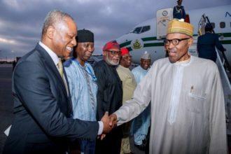 President Buhari arrives New York - OLORISUPERGAL