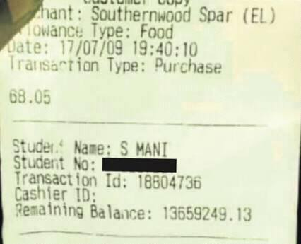 Sibongile Mani receipt - OLORISUPERGAL