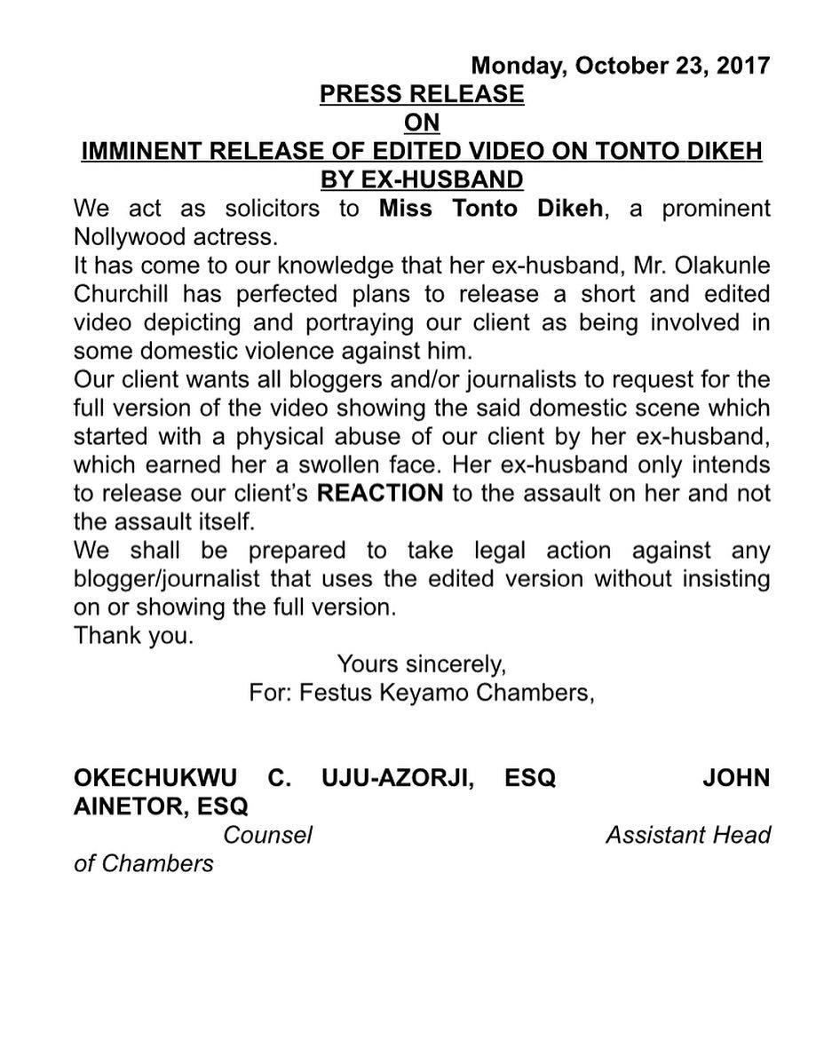 Tonto Dikeh Letter - OLORISUPERGAL