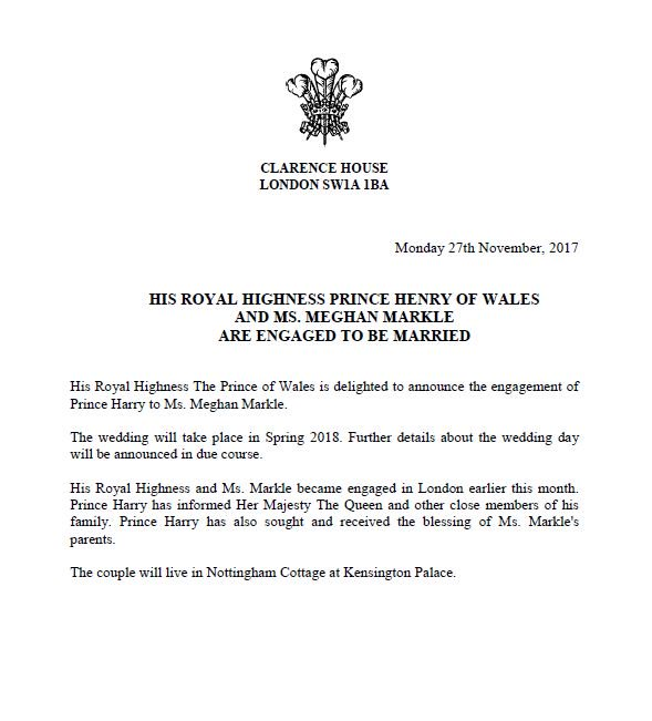 statenment confirming Prince Harry engagement - OLORISUPERGAL
