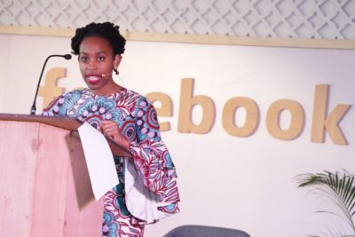 Ebele Okobi, Head of Public Policy, Africa at Facebook speaking at the event