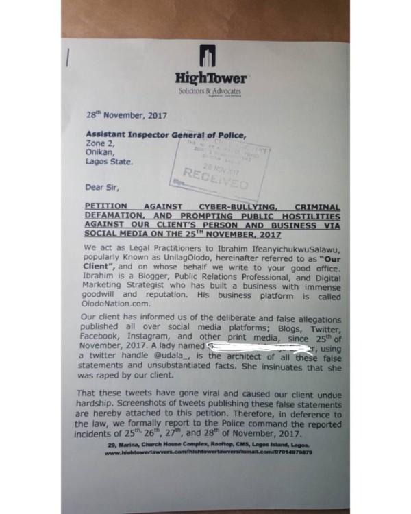 UnilagOlodo Rape Petition - OLORISUPERGAL