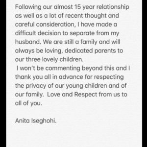 Former MBGN Anita Iseghohi announces her separation from husband.