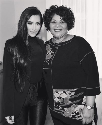 Kim Kardashian and Ms. Alice Marie Johnson at Thanksgiving.