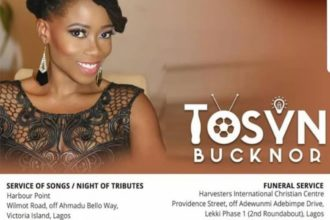 The funeral arrangements for late popular On Air Personality, Tosyn Bucknor has been released.