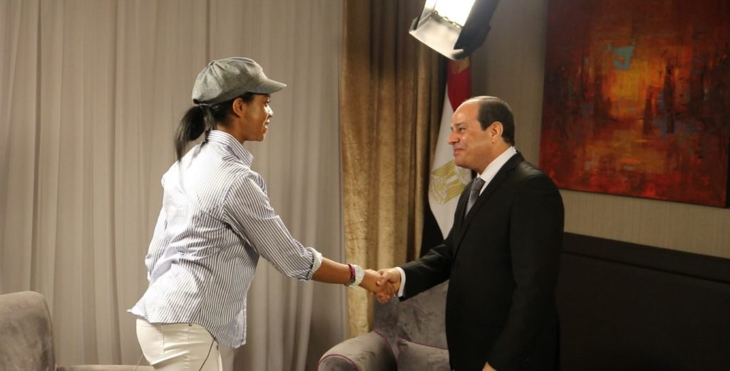 Zuriel Welomes President El Sisi On Set